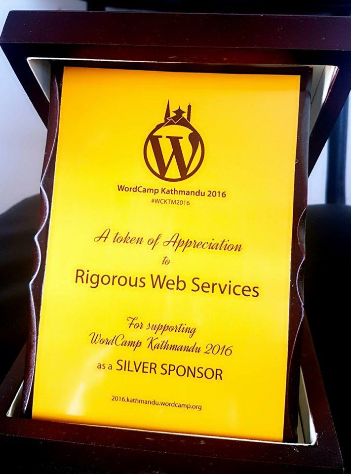 Token of love for sponsoring WCKTM2016 as Silver Sponsor
